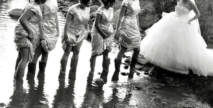Bride & Bridesmaids in the mud