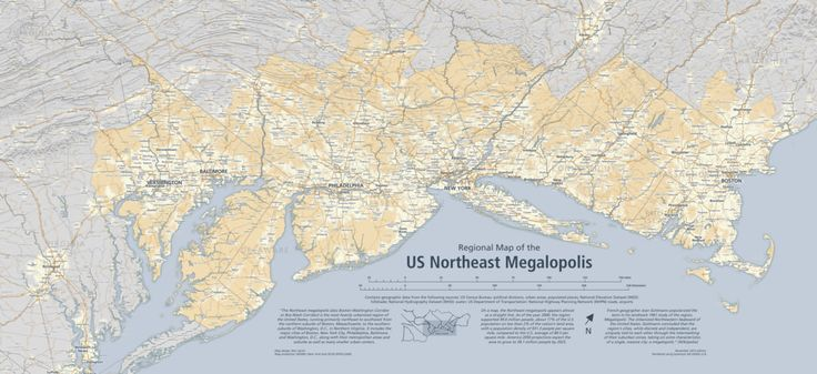 A regional map of the Northeast Megalopolis in the United States. The Northeast Megalopolis traditionally includes the cities (and surrounding suburbs) of Washington, DC; Baltimore, MD; Philadelphia, PA; New York, NY; Boston, MA and various other smaller metropolitan areas.  More information about the region: en.wikipedia.org/wiki/BosWash and en.wikipedia.org/wiki/Northeast_megalopolis  Contains geographic data from the following sources: US Census Bureau: political divisions, urban areas…