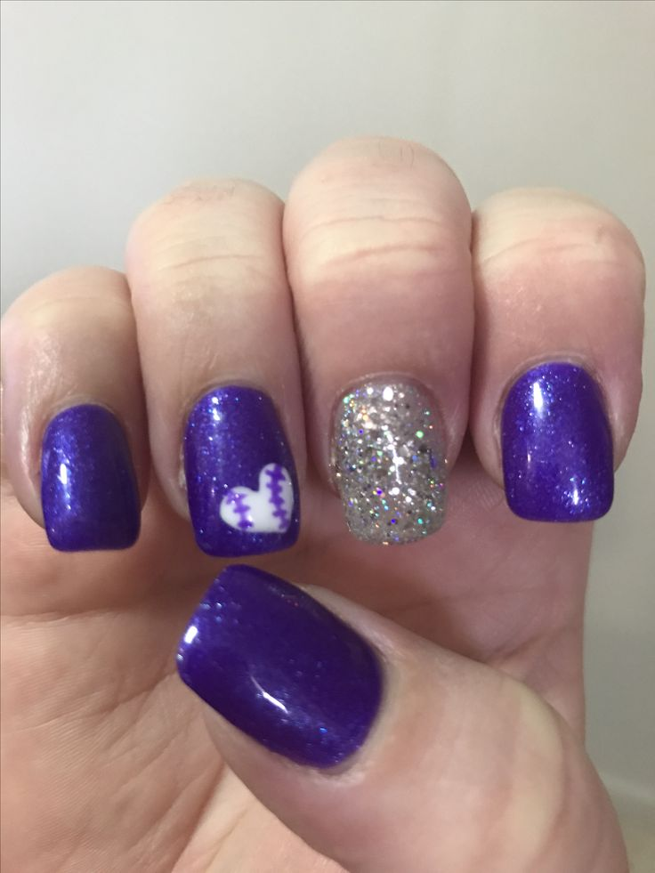 Softball nails with purple and glitter