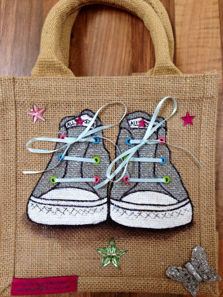 By Emily-em Originals Bag Design. Converse Trainers, hand painted on jute bag with ribbon laces and lots of sparkle.