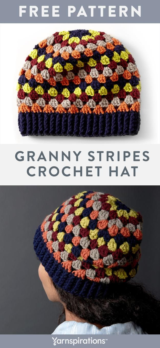 Classic crochet granny stripes work up to form a colorful women's hat. Customize… – Wollige Sachen ! Stoff- Spielerei !