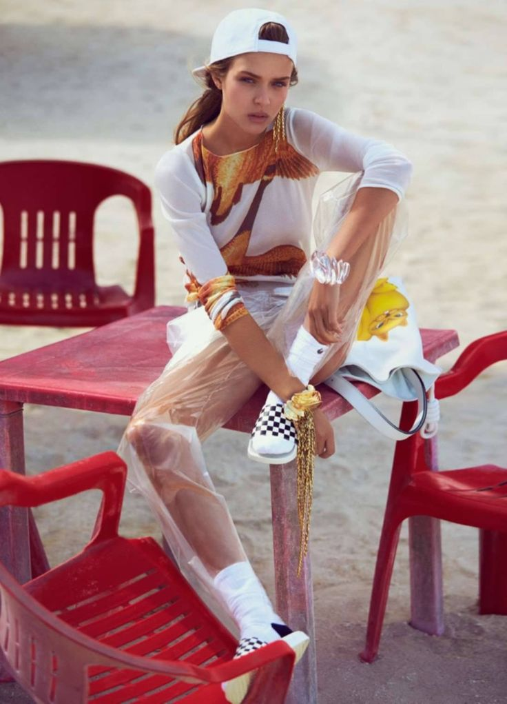 Josephine Skriver kicks up her feet in a Loewe top and sheer pants ELLE France Magazine March 2016 issue