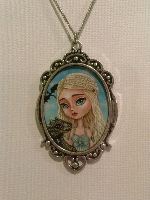 Daenerys Targaryen-Khaleesi Game of Thrones hand painted OOAK pendant.: