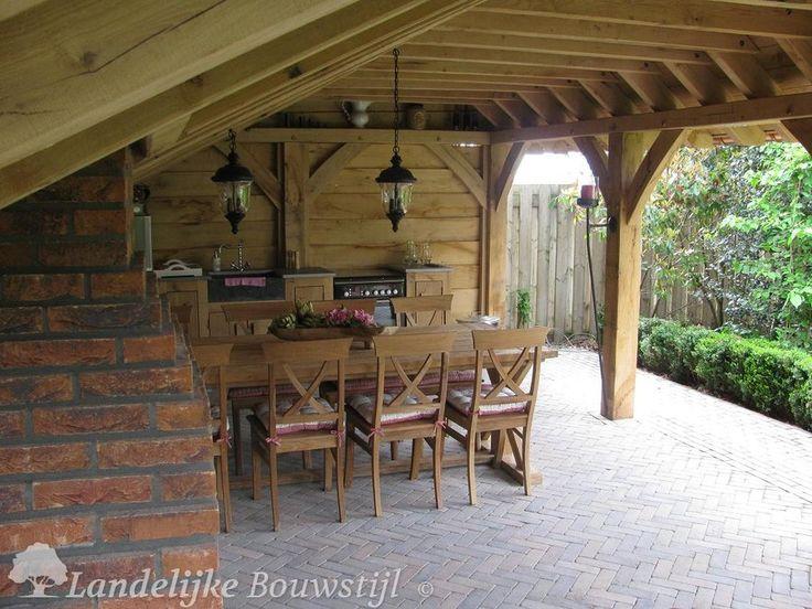 Kapschuur overkapping landelijke bouwstijl tuin pinterest achtertuin vijvers tuin en - Overdekte patio pergola ...