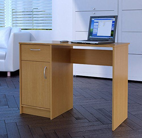 Home Source Desk Oak 1 Drawer 1 Door Compact Computer Workstation Home  Office Table Tyler