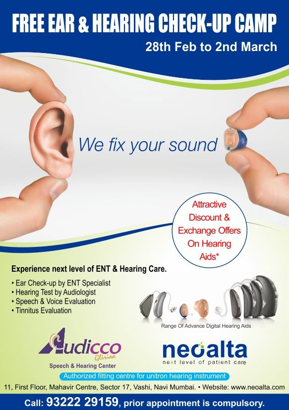 One Day left for Free Ear and Hearing check camp Vashi Navi Mumbai. Camp is going to held on 28th February &1st and 2nd March. For Appointment call on 9322229159 or visit on www.neoalta.com / www.audicco.com Prior Appointment is compulsory ‪#‎Ear‬ ‪#‎Hearing‬ ‪#‎campaign‬ ‪#‎Appointment‬