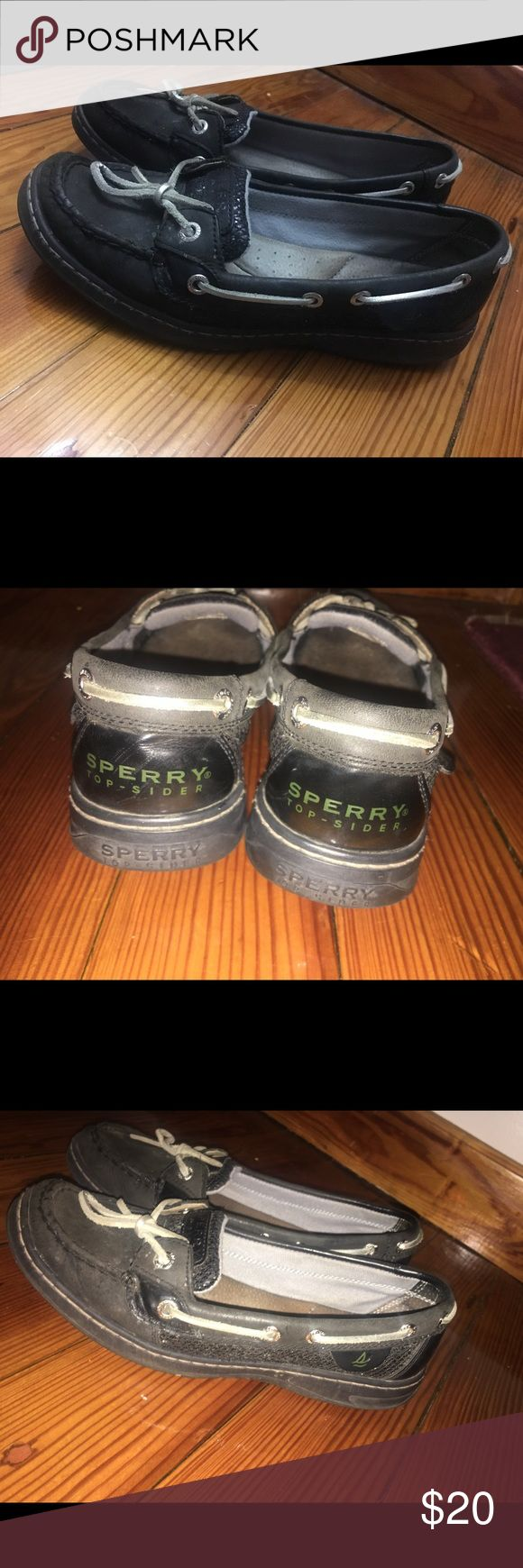 Sperry Top Sider black glitter boat shoes Lightly used boat shoes . Shot me an offer ! (: Price is negotiable Sperry Top-Sider Shoes Flats & Loafers