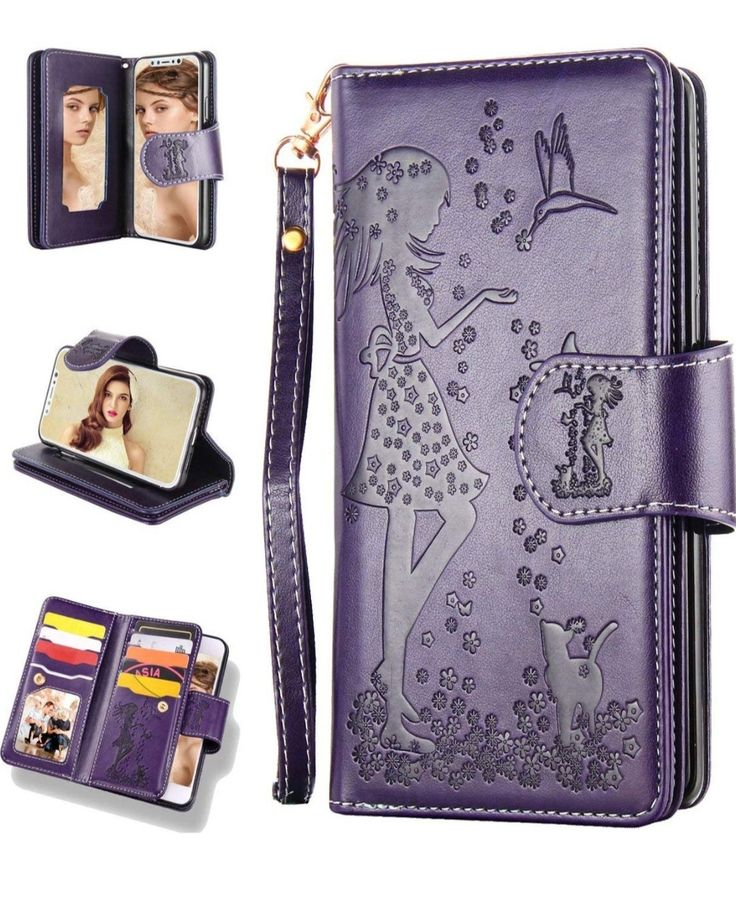 Flyee iphone 11 wallet case with mirror 9 cards slots
