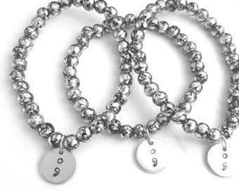 Semicolon Simple Bracelet - hand stamped bracelet with black crackle beads- beaded bracelet - Semicolon bracelet - awareness bracelet