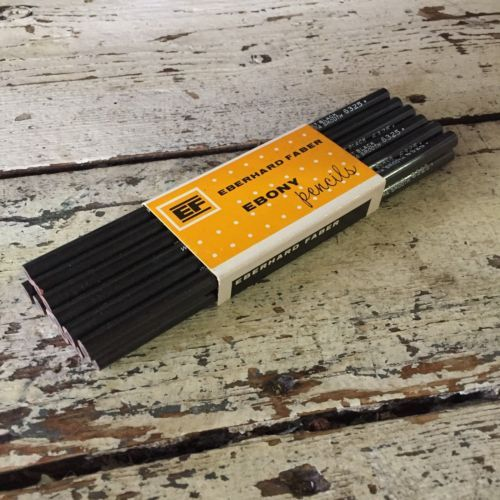 Vintage-EBERHARD-FABER-EBONY-6325-Pencils-12-NOS-Jet-Black-Extra-Smooth