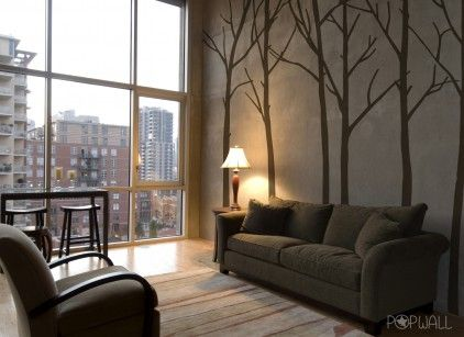 Winter Trees Brown Wall Stickers by zazous. I love silhouettes of branches, and this wallpaper is a mixture of boldness with the big pattern and subtlety with the earthy colours.
