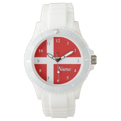 Custom watch with Danish flag of Denmark - monogram gifts unique design style monogrammed diy cyo customize