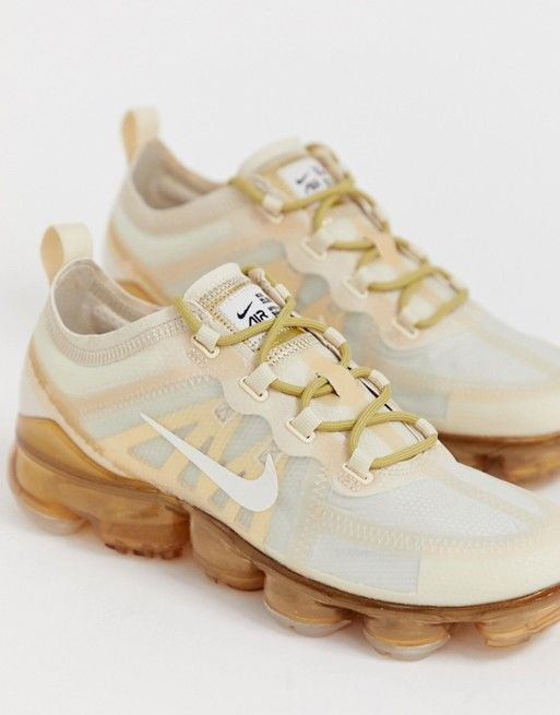 bcaedbe32e45 Nike Running Vapormax 19 Trainers In White And Gold in 2019