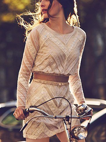 Chevron Lace Dress | Free People | 'Girls on Bikes' January Edition