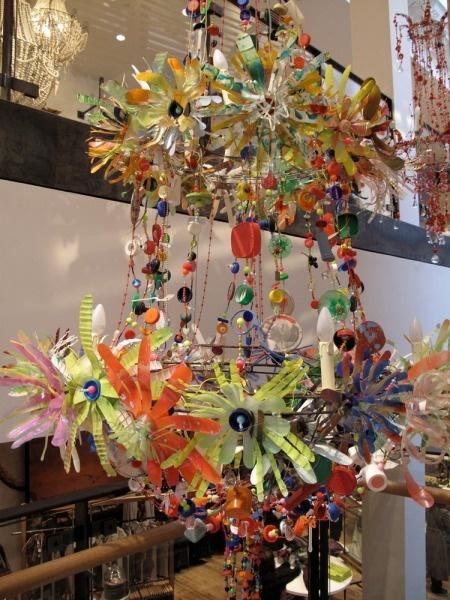 chandelier from bottle tops and plastic bottle flowers