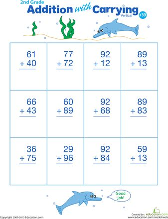 Worksheets: Double Digits! Practice Vertical Addition with Carrying 39