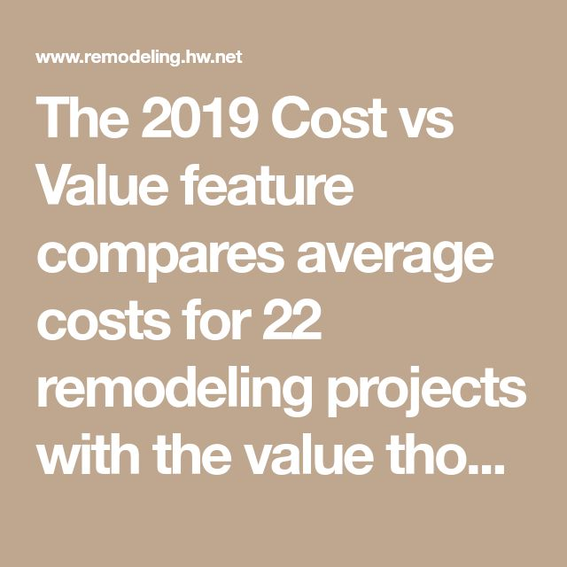 The 2019 Cost Vs Value Feature Compares Average Costs For