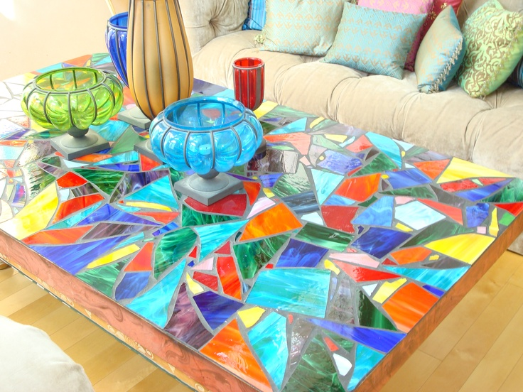 This is a mosaic table I made out of stained glass scraps!  This is actually my very first attempt...I was a bit ambitious!!!!!!!!!!