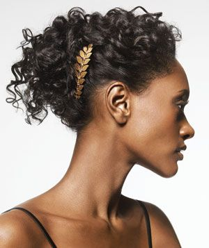 Try this pretty updo: Apply Reviving Curl Cream if you have naturally
