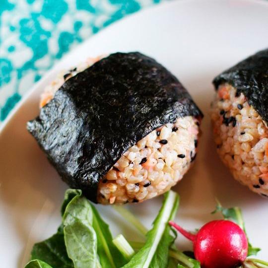 Salmon and Black Sesame Onigiri (Japanese Rice Balls)