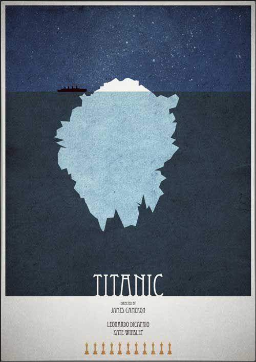 Titanic by Mads Hindhede: Minimalist Posters, Minimalist Movie Posters, Minimalistposters, Titanic, Movie Minimal Posters, Movies, Posters Design, Minimalist Film Posters, Minimal Movie Posters