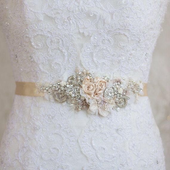 Bridal sash, Wedding dress belt, Narrow waist Beige Champagne Nude Ivory unique lace floral flowered vintage rustic shabby pearls rhinestone