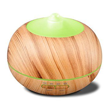 32$: Tenswall 400ml Ultrasonic Aromatherapy Essential Oil Diffuser, Cool Mist Humidifier Whisper Quiet Operation - Yellow Wood Grain-Changing LED Light & Auto Shut-Off Function 4 Timer Settings