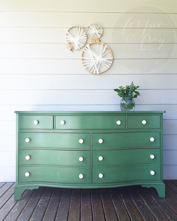 Green dresser painted by Amanda of Ferpie and Fray