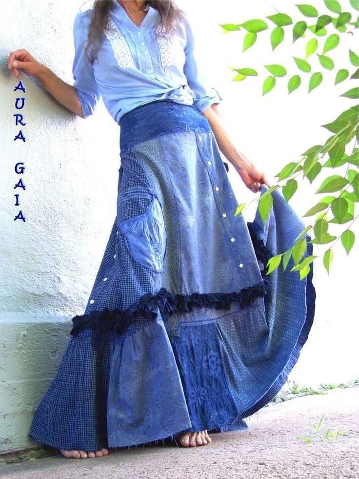 AuraGaia ~ Lady Morpho ~ Blue Butterfly Bustleback OverDyed Upcycled Skirt...tattered raw denim linen silk everyday jeans replacement