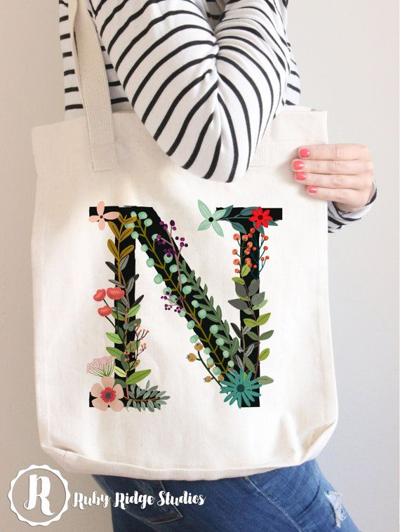 Personalised Floral Monogram Tote Bag by RubyRidgeStudios on Etsy