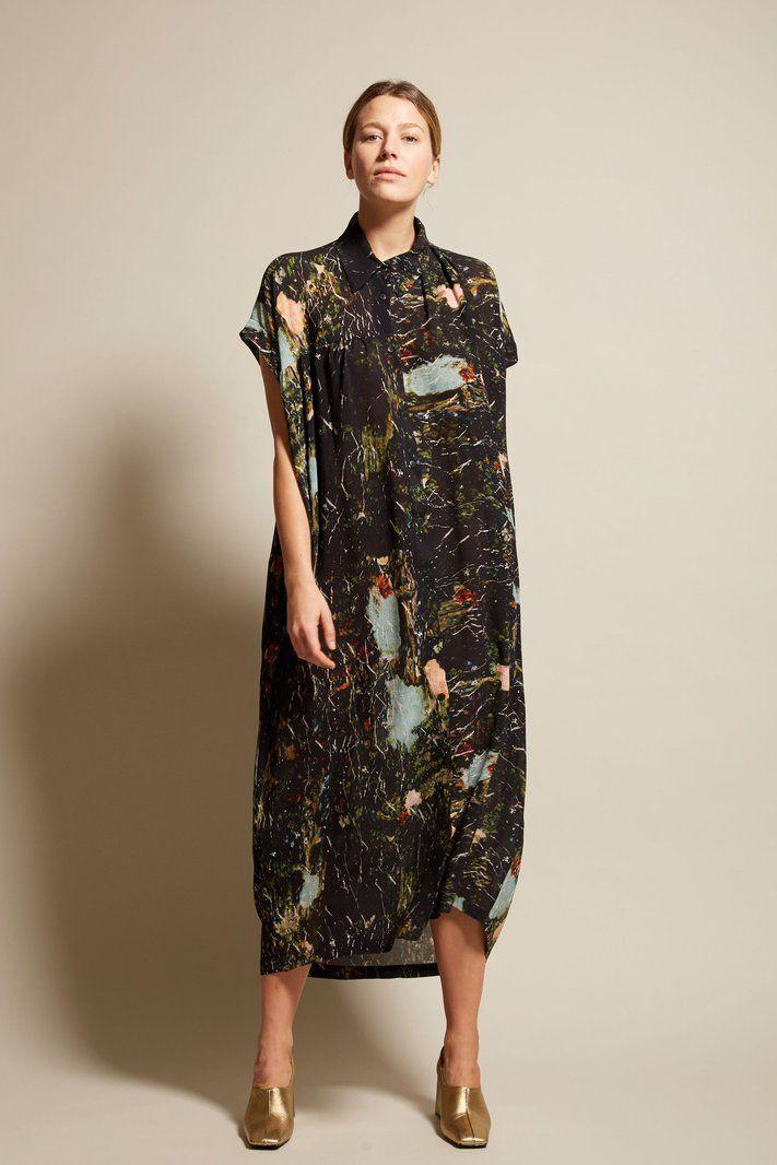 Anntian Sleeveless Silk Dress in Print C