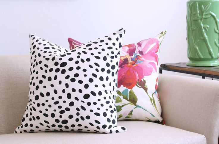 Dalmation Dot, Black & White Pillow, Paint Pallete Punch Watercolor Floral Pillow on the right by Tonic Living