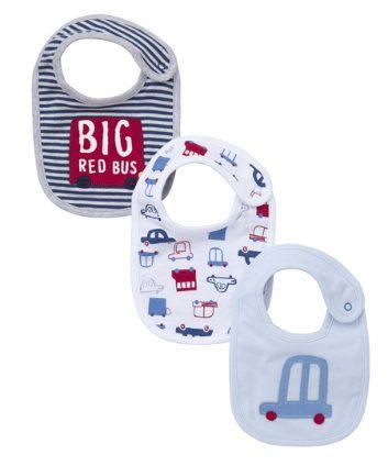 Mothercare Big Red Bus Bibs - 3 Packs 6£