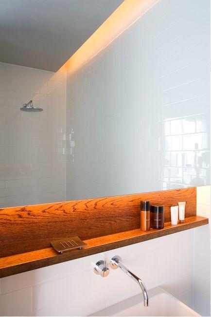 Wood backsplash in a bathroom