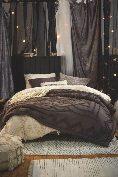 Cozy dark bedroom | shop the look: cream duvet cover - dark...