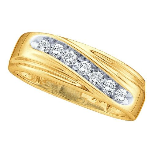 14k Yellow Gold 0.25Ctw Round Diamond Men'S Fashion Wedding Ring Band: Ring