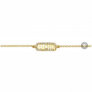 Ένα πρωτότυπο δώρο για μαμάδες - Γυναικείο βραχιόλι για μαμά από χρυσό Κ9 με τη λέξη mom, ζιργκόν & μαργαριτάρια | Κοασμήματα ΤΣΑΛΔΑΡΗΣ στο Χαλάνδρι #μαμα #ζιργκον #μαργαριταρια #χρυσο #βραχιολι