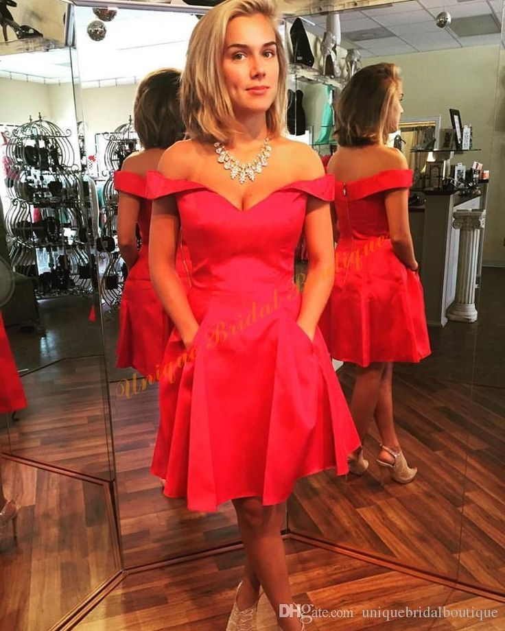 2016 Red Homecoming Dresses With Pockets And Off Shoulder Real Short Vestido De Formatura Curto Custom Made Homecoming Dress Red Homecoming Dress Store From Uniquebridalboutique, $72.62| Dhgate.Com