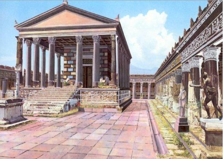 Illustrated reconstruction of Pompeii, from a CyArk/University of Ferrara research partnership, of how the Temple of Apollo may have looked before Mt. Vesuvius erupted