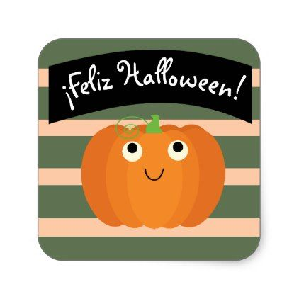"""""""Feliz Halloween"""" Cute Sticker with Pumpkin - holidays diy custom design cyo holiday family"""