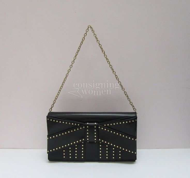 Zac Posen leather Shirley chain strap bow clutch bag. New without tags.