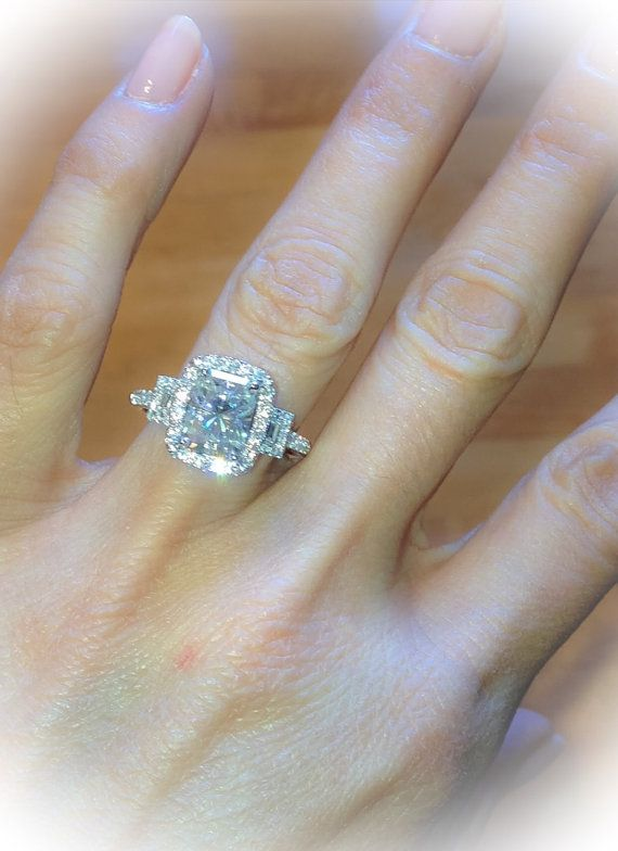 Engagement Ring 18K White Gold 10x8mm by PristineCustomRings