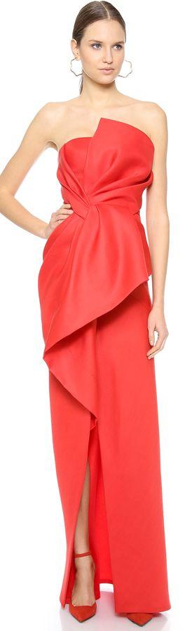 J Mendel Strapless Asymmetrical Dress
