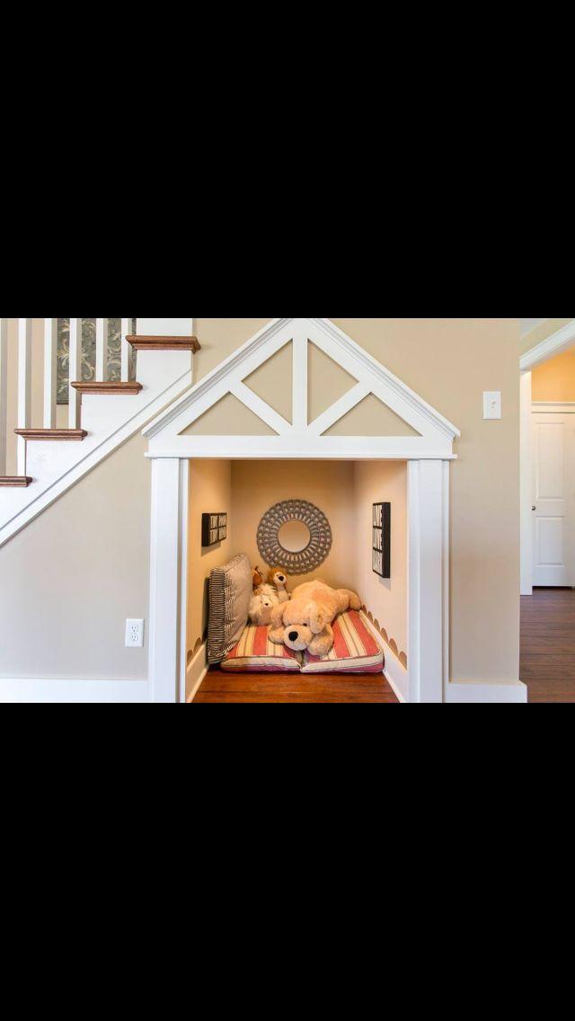 Under the stairs play cubby or put a gate up and you have a built-in dog crate.