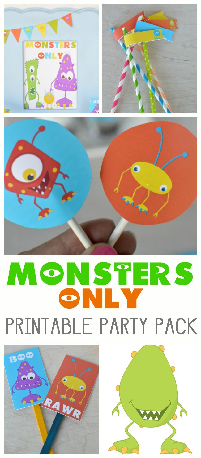 MONSTERS ONLY PRINTABLE PARTY PACK - everything you need to throw your next party