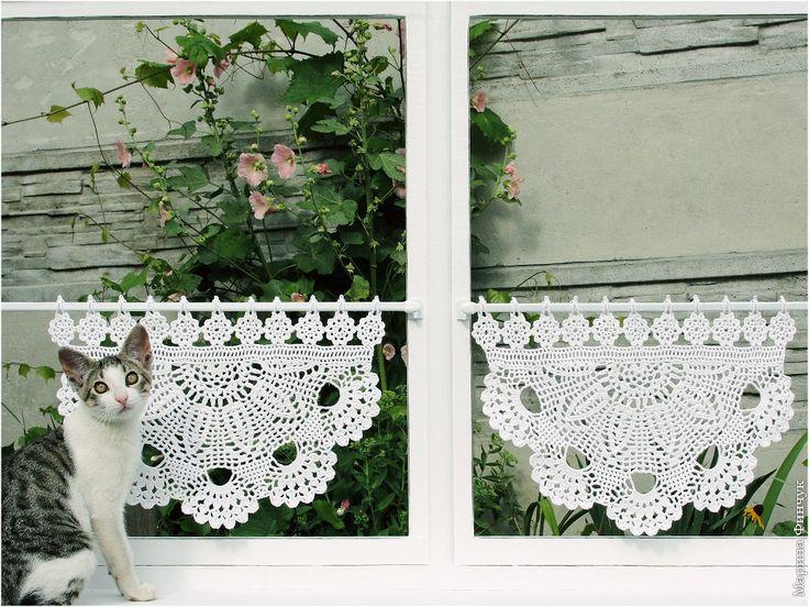 "Cafe Curtain, Шторки-zazdrostki ""Маргаритки"",  crochet-curtains"