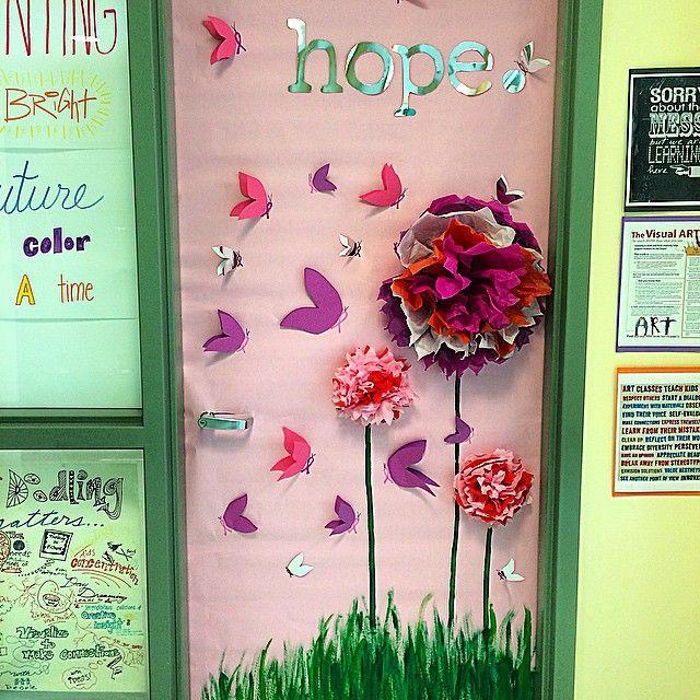 Breast cancer awareness door decorating contest today  #fightlikeagirl