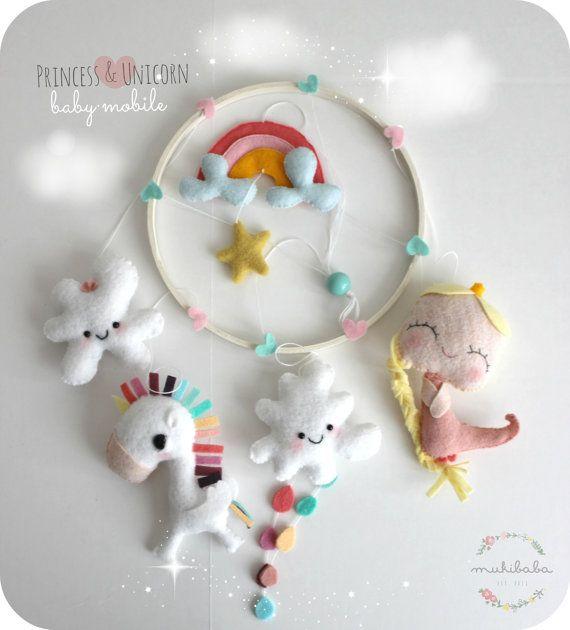 BABY CRIB MOBILE, unicorn princess rainbow, baby mobile, clouds, pink, mint, sky, nursery decoration