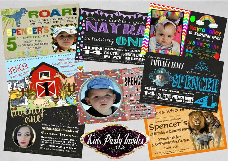 Personalised Birthday Invitations for all ages.  Invitations come in sets of 8…