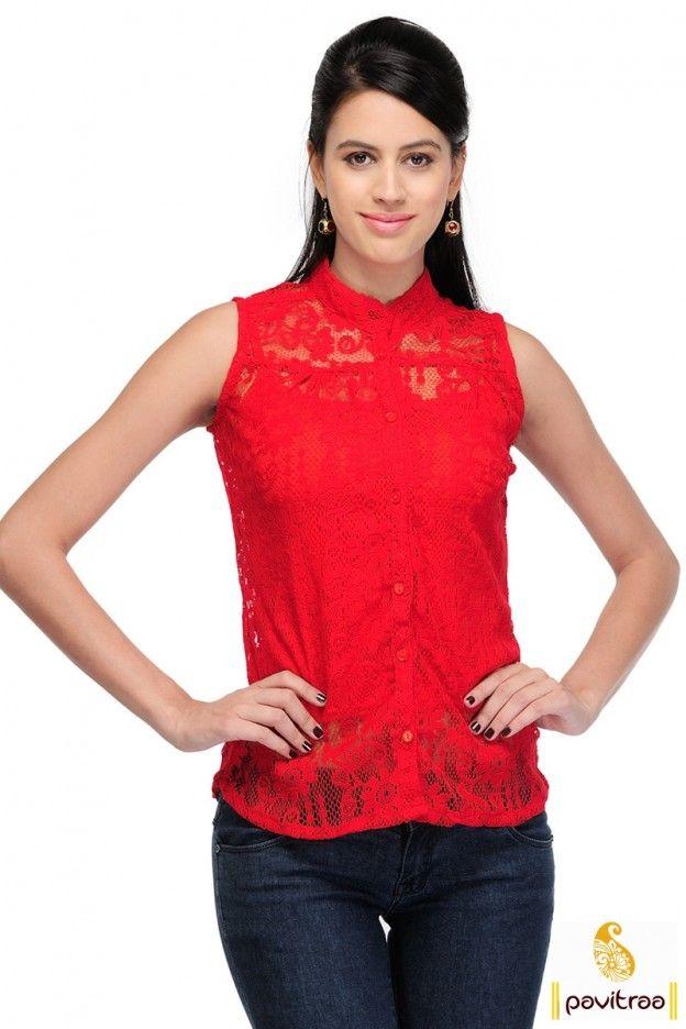Red Sleeveless Net Top #westerntopsonlineshoppingindia #westerntopsonline #buywesterntopsonlineindia #cheapwesterntopsonline More: http://www.pavitraa.in/store/women-tops/?utm_source=hp&utm_medium=pinterestpost&utm_campaign=29july